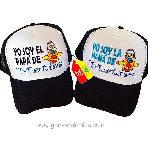 gorras negras frente blanco para familia avión