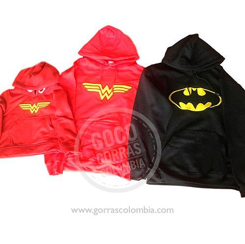 busos rojos y negro para familia super heroes