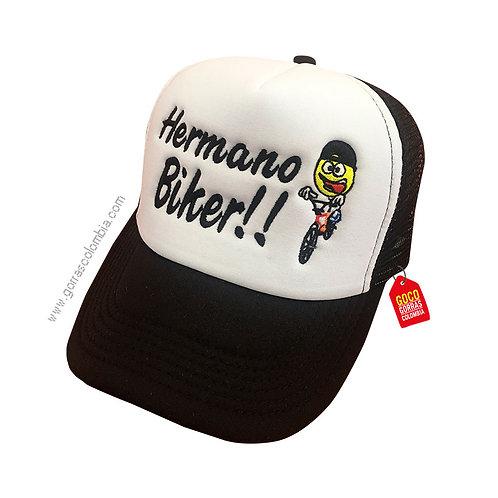 gorra negra frente blanco personalizada emoji bike