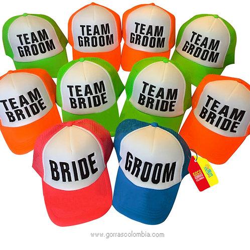 gorras varias frente blanco para fiesta bride y groom