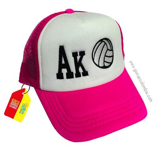 gorra fucsia frente blanco personalizada boleyball