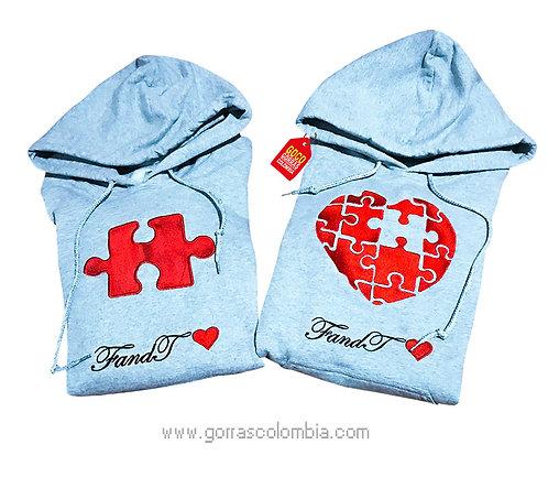 busos grises con capota para pareja rompecabezas corazon