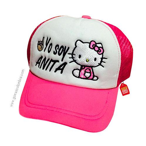 gorra fucsia frente blanco para niña hello kitty