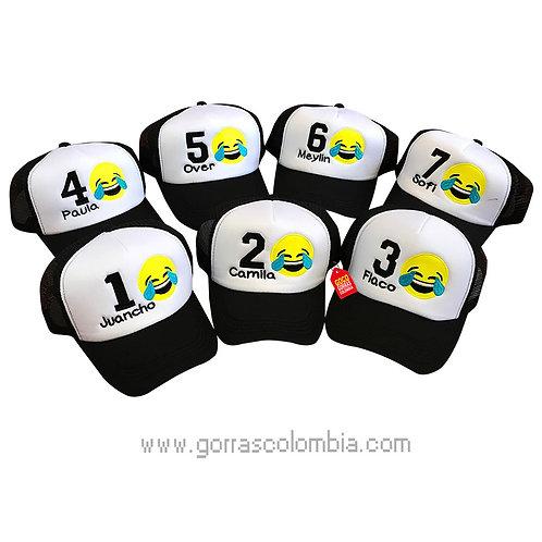 gorras negras frente blanco para amigos emoji risa