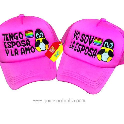 gorras fucsia unicolor para pareja tengo esposa lgbti