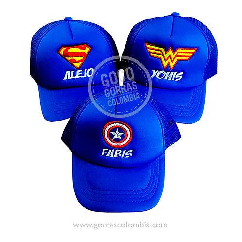 gorras azules unicolor para familia super heroes