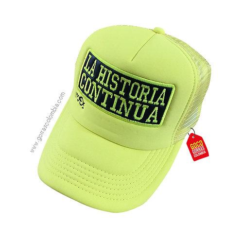 gorra verde neon unicolor personalizada la historia continua