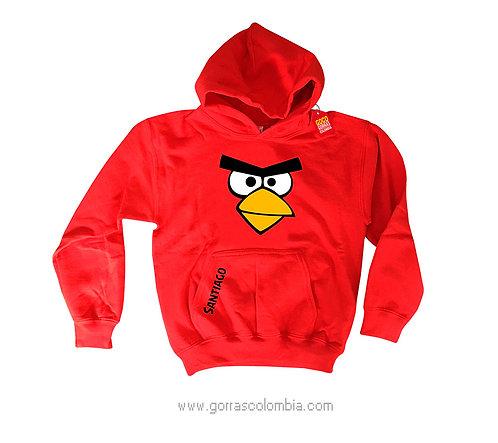 buso rojo con capota para niño angry birds
