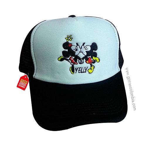 gorra negra frente blanco personalizada mickey pareja