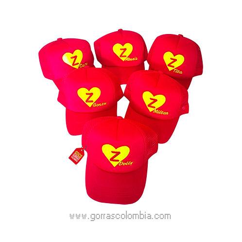 gorras rojas unicolor para familia chapulin