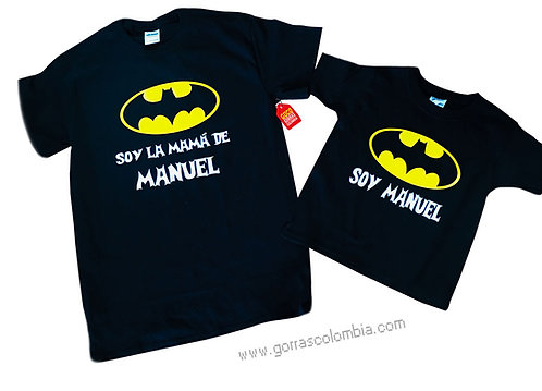 camisetas negras para familia de batman mama e hijo