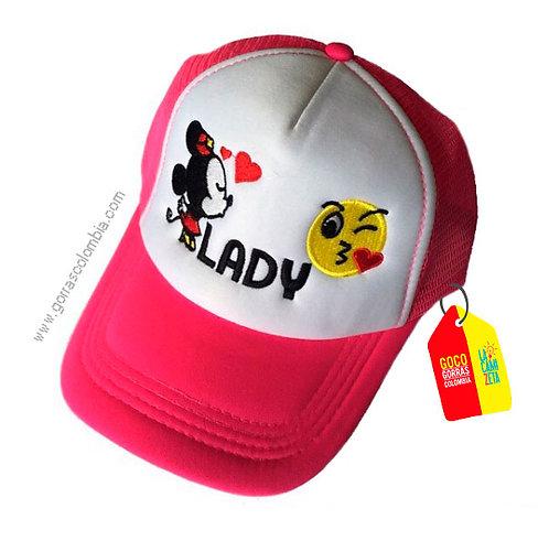 gorra fucsia frente blanco para niña minnie y emojic