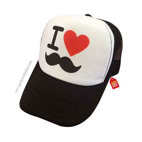 gorra negra frente blanco para familia i love mostacho