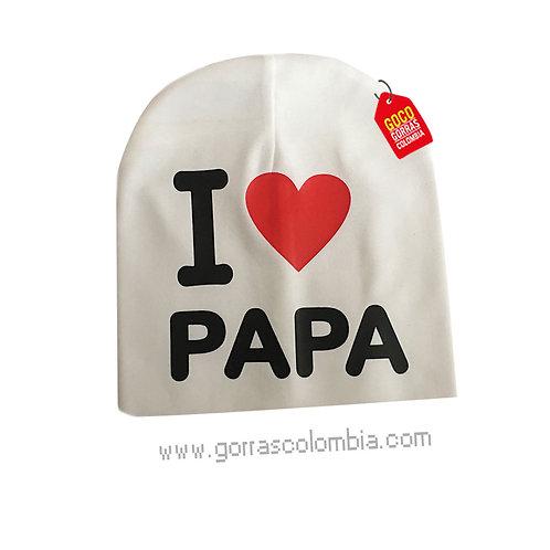 gorro blanco para bebe i love papa