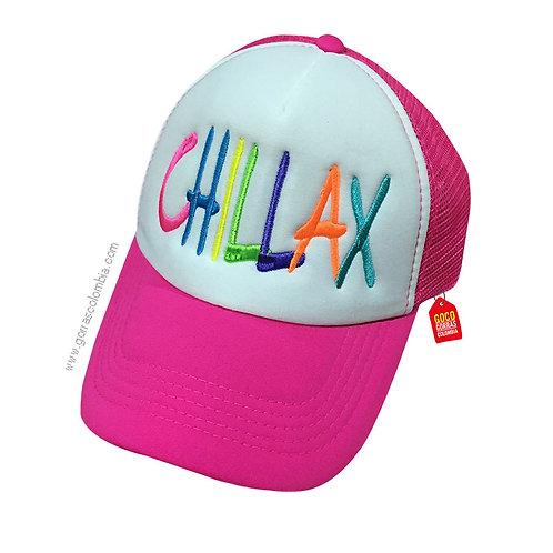gorra fucsia frente blanco personalizada chillax