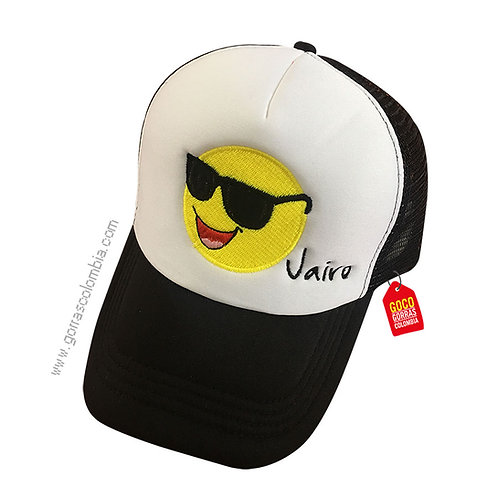gorra negra frente blanco personalizada emoji gafas
