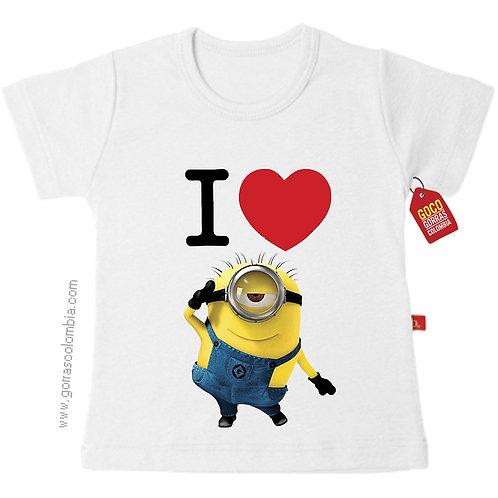 camiseta blanca para niño i love minion