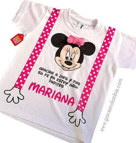 camiseta blanca para niña de minnie con tirantas