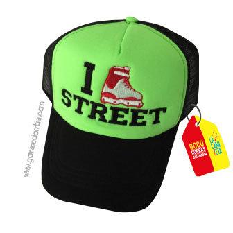 gorra negra frente verde personalizada street