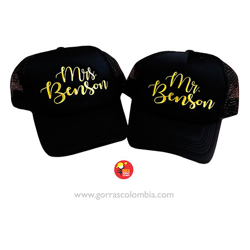 gorras negras unicolor para pareja mr y mrs