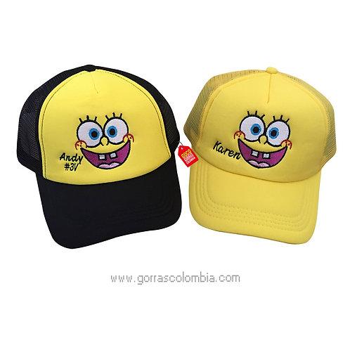 gorras amarillas unicolor para pareja bob esponja