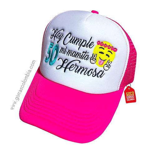 gorra fucsia frente blanco personalizada cumple emoji