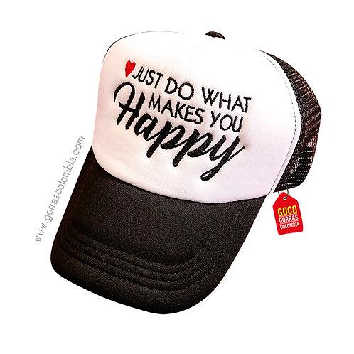 gorra negra frente blanco personalizada happy