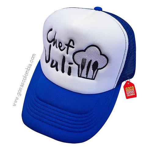 gorra azul frente blanco personalizada chef