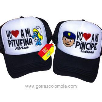 gorras negras frente blanco para pareja pitufina y pincipe