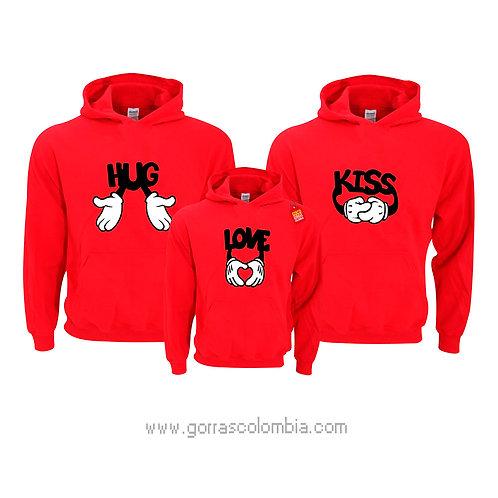busos rojos con capota para familia hug kiss y love