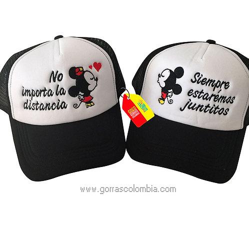 gorras negras frente blanco para pareja juntitos mickey