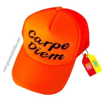 gorra naranja unicolor personalizada carpe diem