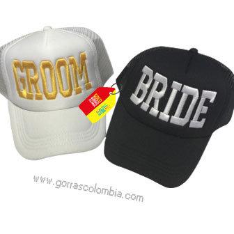 gorras negra y blanca unicolor para pareja groom y bride