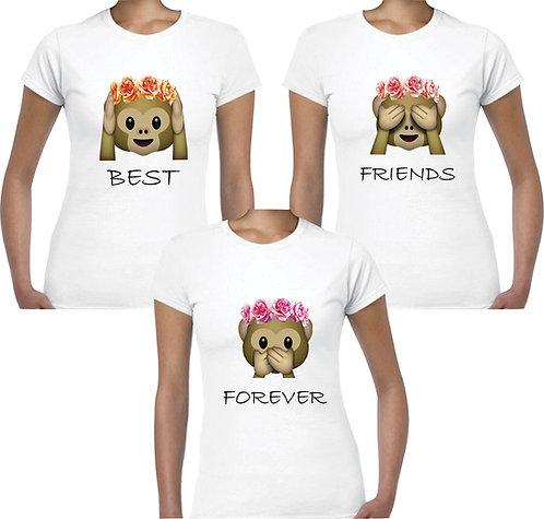 camisetas blancas para amigas best friends forever emojic mono