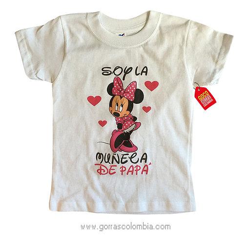 camiseta blanca para niña de minnie corazones