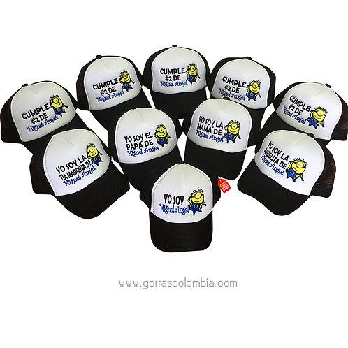 gorras negras frente blanco para fiesta cumpleaños minions