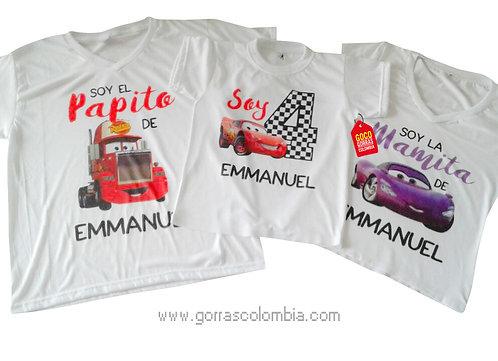 camisetas blancas para familia de cars