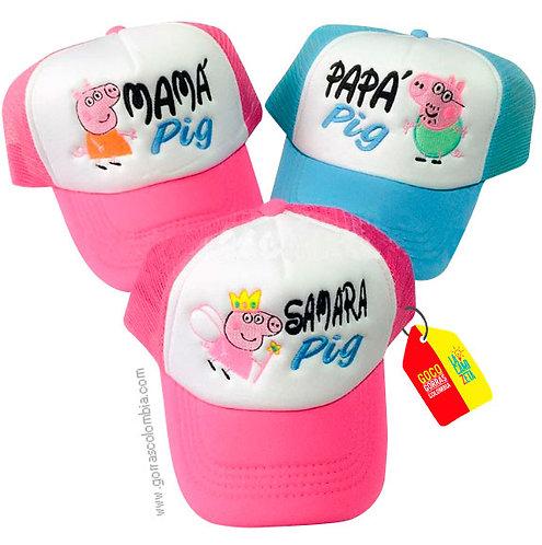 gorras azul y fucsia frente blanco para familia pig