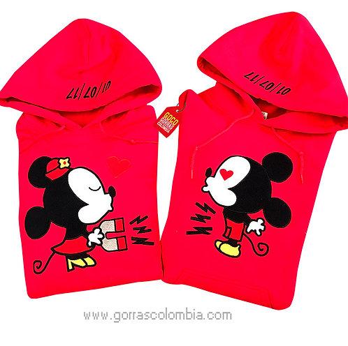busos rojos con capota para pareja de mickey iman