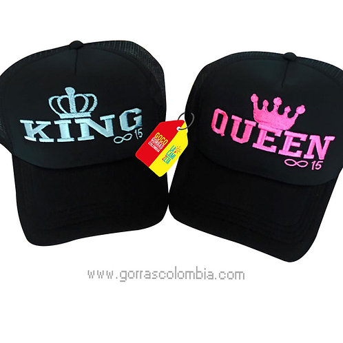 gorras negras unicolor para pareja king y queen infinito