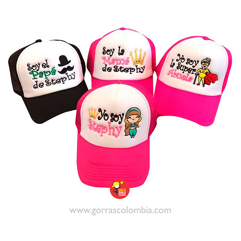 gorras varias para familia papas de mostacho y corona