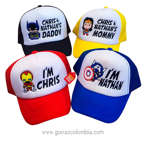 gorras varias frente blanco para familia super heroes