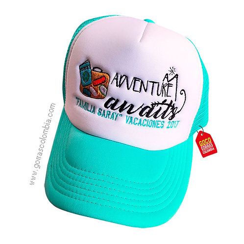 gorra verde menta frente blanco personalizada adventure awaits
