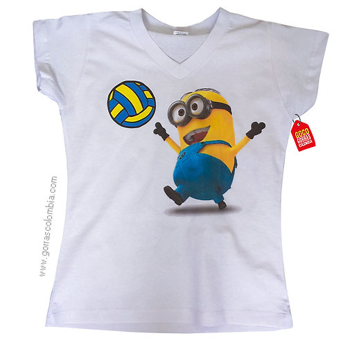 camiseta blanca personalizada minion boleyball