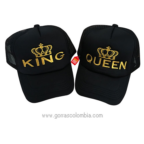 gorras negras unicolor para pareja king y queen