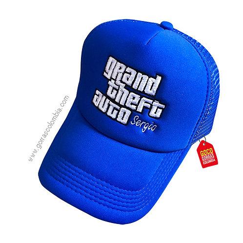 gorra azul unicolor personalizada grand theft auto