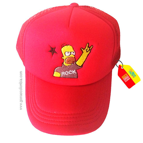 gorra roja unicolor personalizada homero rock
