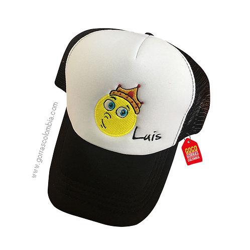 gorra negra frente blanco personalizada emoji rey