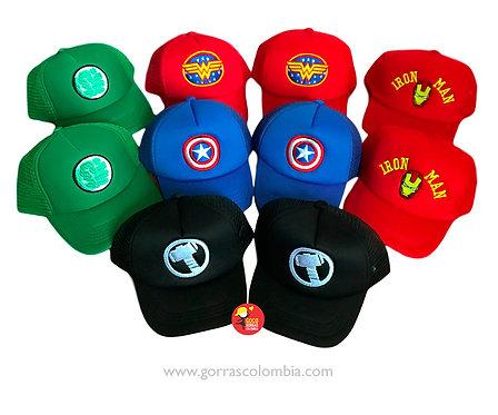 gorras varias unicolor super heroes