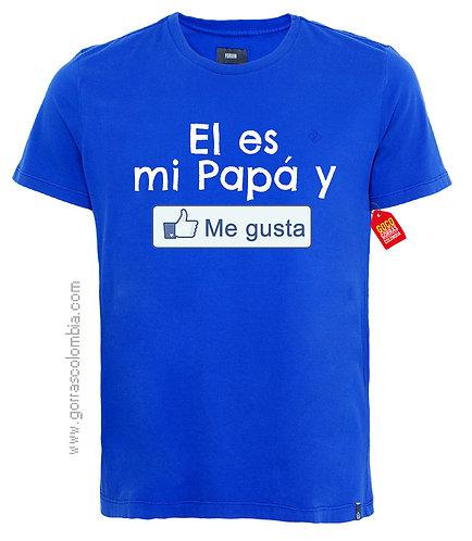 camiseta azul para familia el es mi papá y me gusta